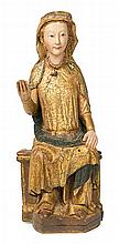 Navarrese school, late 13th Century Seated Virgin Sculpture in carved, gilded and polychrome wood Provenance: Wagner-De Wit Collection,