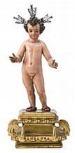17th Century Andalusian school Jesus Child A carved and polychromed wood sculpture on a gold-plated wood stand