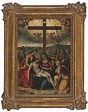 Flemish school from the late 16th Century The lamentation over the dead Christ
