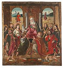 Attributed to the Catalan school from the first third of the 16th Century The Virgin and the apostles Oil on board