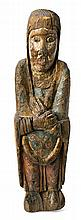 School from the Lleida Pyrenees from the second half of the 12th Century - early 13th Century Virgin on a Calvary A carved and poly