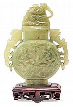 20th Century Chinese school Potiche Carved serpentine