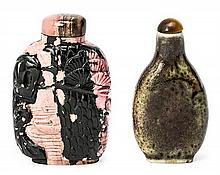 Two Chinese tobacco jars in rhodonite and porcelain, first half of the 20th Century 7 cm max. height