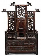 Chinese altar in carved, painted and fretted wood, late 19th Century Slight breakage restored 65.5x40.5x21.7 cm