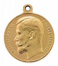 Russia, Tsar Nicholas II, (1894-1917), commemorative gold medal Medal for Bravery, First Class, in the First World War. Numbered 5382.