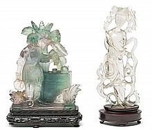 20th Century Chinese school Lady and woman in a kitchen Rock crystal and quartz with wooden stands