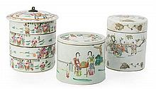 Three porcelain Chinese jars, from the first third of the 20th Century One of them with four detachable containers. Stamps on the bas