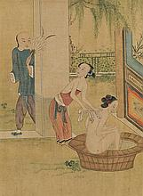 Chinese school from the late 19th Century Bath scene and erotic scene Two gouaches on silk