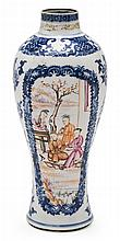 A porcelain Mandarin Chinese vase, from the late 18th Century Hair-line fissure and restored breakage on top