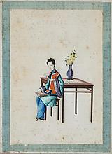 Canton school from the late 19th Century Characters A set of fourteen gouache paintings on rice paper