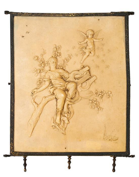 espejo tr ptico franc s art nouveau con placa en relieve s m