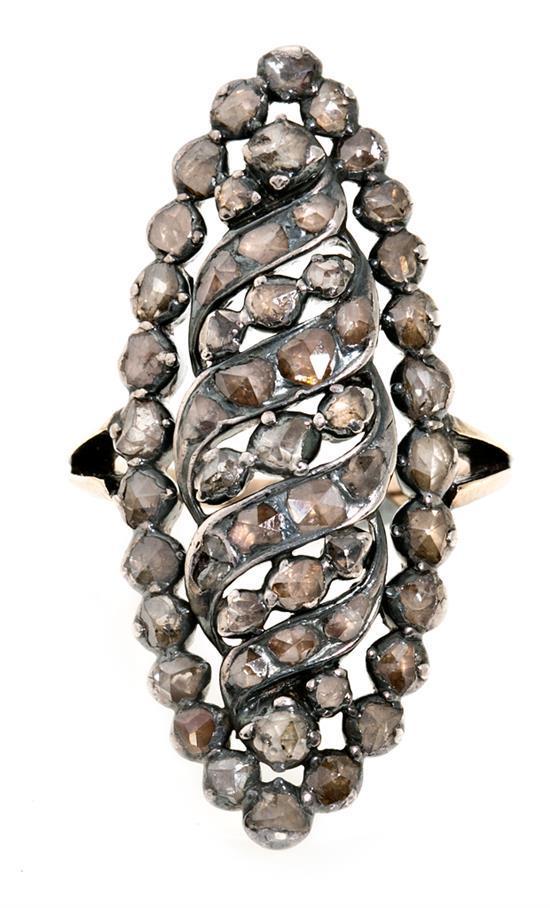 Sortija lanzadera de diamantes, de finales del siglo XVIII - principios del siglo XIX