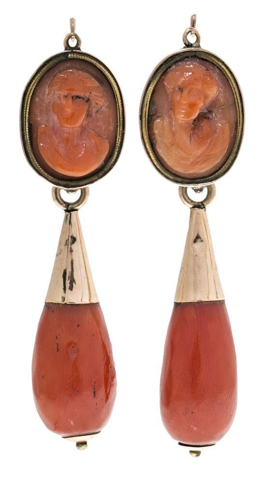 Italian long earrings, 19th Century