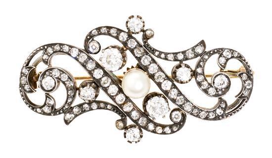 Broche francés de diamantes, de finales del siglo XIX