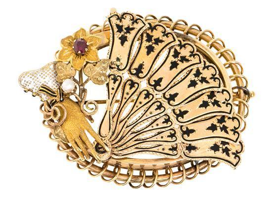 Broche portarretratos en forma de abanico, de finales del siglo XIX