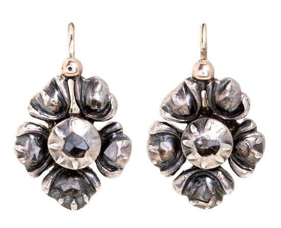 Pendientes colgantes de diamantes, del siglo XIX
