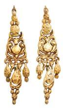 Pendientes en plata dorada del siglo XIX