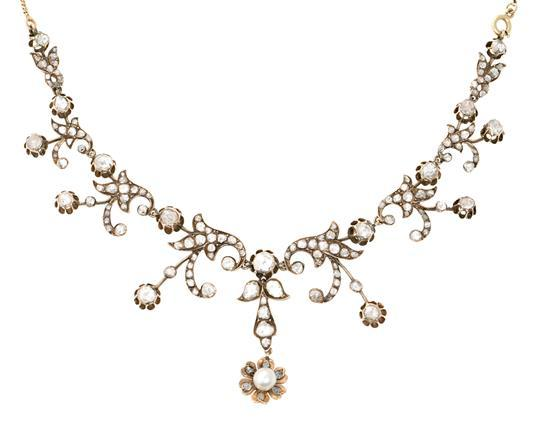 Gargantilla floral de diamantes, del siglo XIX
