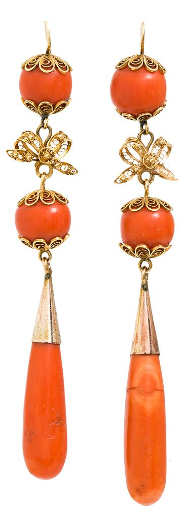 19th Century long coral earrings
