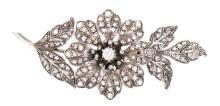 Broche floral de diamantes, de finales del siglo XIX