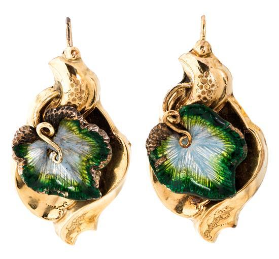 Gold and enamel earrings, 19th Century