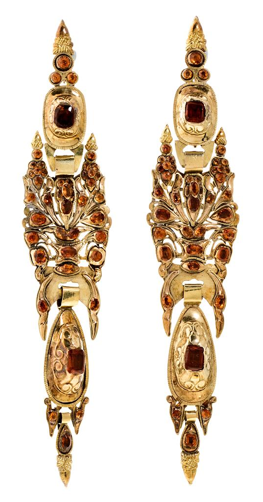 A pair of Catalan long earrings, 19th Century