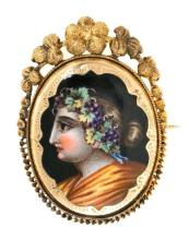 Enamel brooch, 19th Century