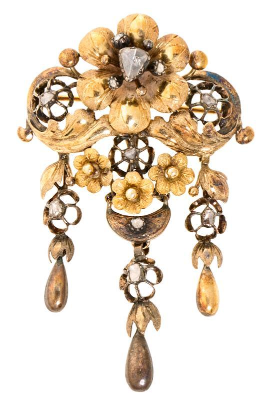 Elizabethan Diamond floral brooch, mid 19th century