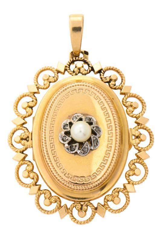 Colgante portarretratos en oro, del siglo XIX