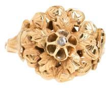 Sortija floral isabelina en oro, del siglo XIX