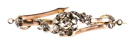 Broche con rosetón de diamantes, hacia 1900