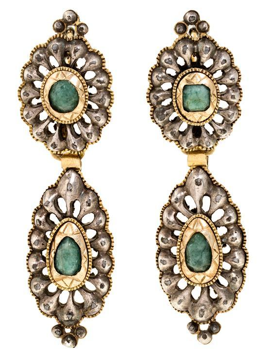 A pair of Catalan long earrings, 19th Century
