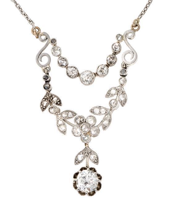 Gargantilla Belle Époque de diamantes, hacia 1910