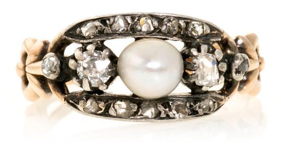 A French pearls and diamond ring, early 20th Century