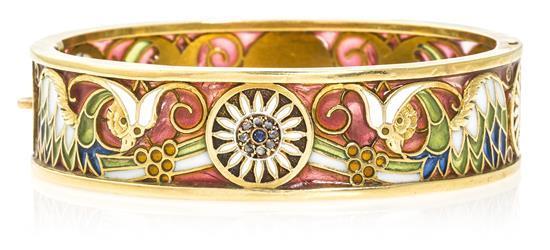 Masriera y Carreras 1916-1985 Pulsera en esmalte, hacia 1916 Oro, esmalte plique-à-jour y basse-taille, diamantes talla rosa, 0,07...