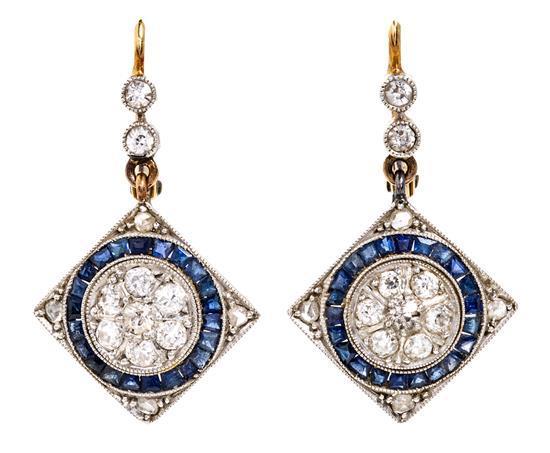 Pendientes Belle Époque de zafiros y diamantes, hacia 1910