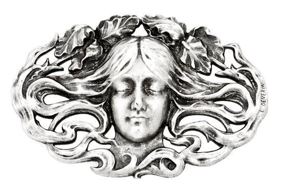 Placa francesa Art Nouveau en plata, de finales del siglo XIX - principios del siglo XX