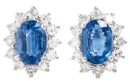 Pendientes rosetón de cianitas y diamantes