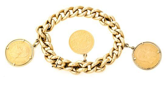 Gold articulated bracelet with pendant coins