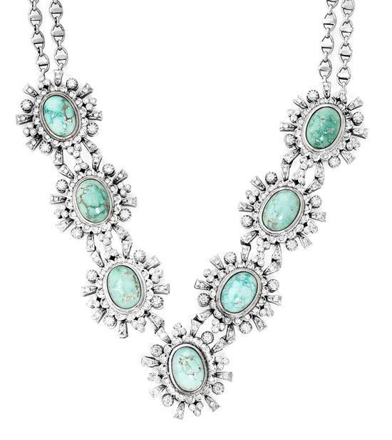 Gargantilla de turquesas y diamantes, hacia 1960
