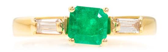 Sortija de esmeralda y diamantes