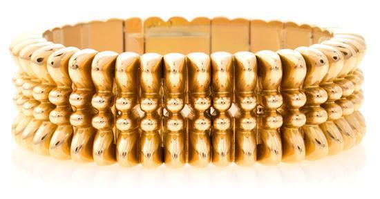 Pulsera de eslabones en oro, de mediados del siglo XX
