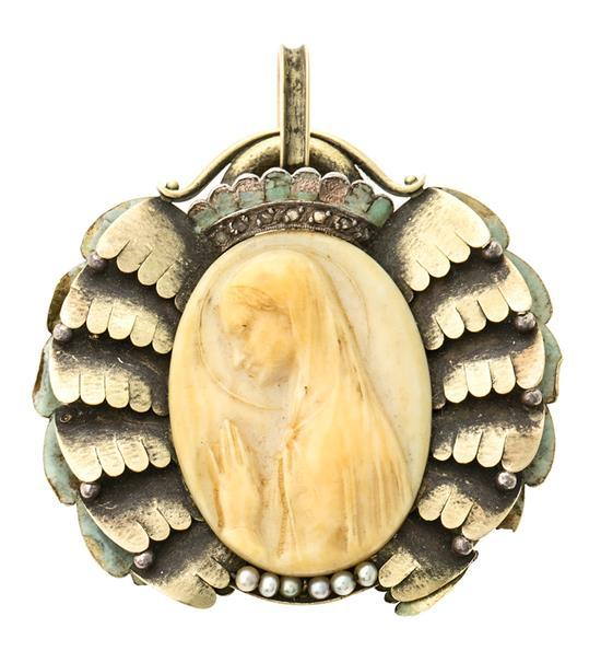 Atribuído a Jaume Mercadé Valls 1889 - Barcelona 1967. Medalla devocional catalana, hacia 1933 Oro, esmalte, diamantes talla tabla,...