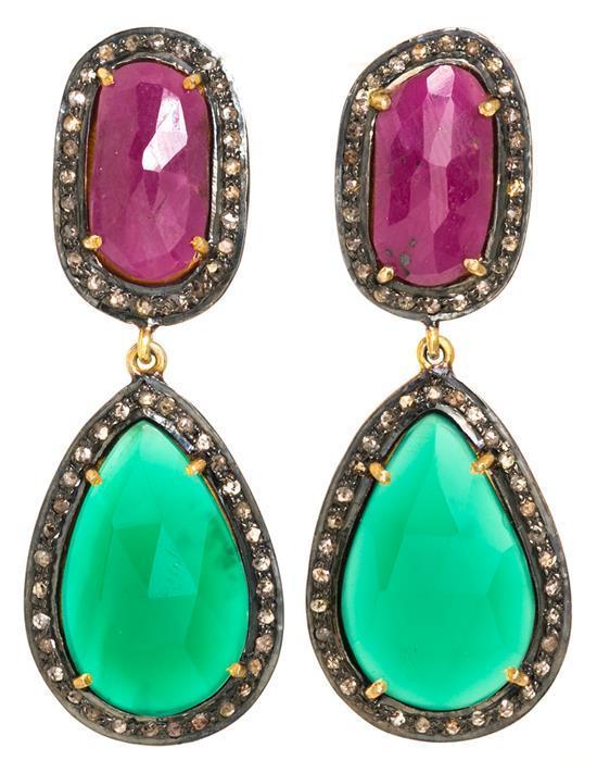 Long diamond and precious stones earrings