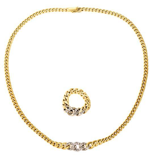 Adriano Chimento Jewellery, a Gold and diamond set comprising a ring and a chocker