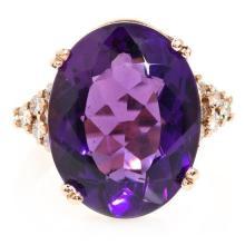 Sortija italiana de amatista y diamantes