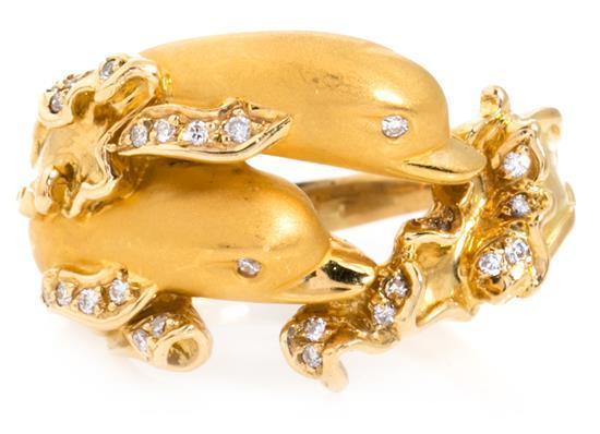 Joyería Carrera y Carrera, Delfín, conjunto de sortija y pendientes en oro y diamantes
