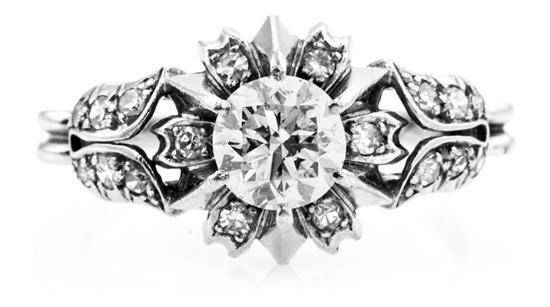 Sortija solitario de diamantes, hacia 1950