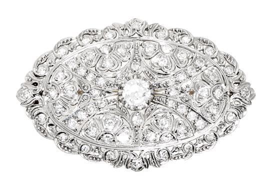 Broche Art Déco de diamantes, hacia 1925