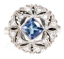 Sortija de tanzanita y diamantes de estilo Art Déco